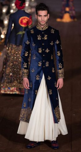 Blue Velvet and gold bandhgala sherwani with a white flare lower for the Indian Groom | Rohit Bal | Curated by Witty Vows