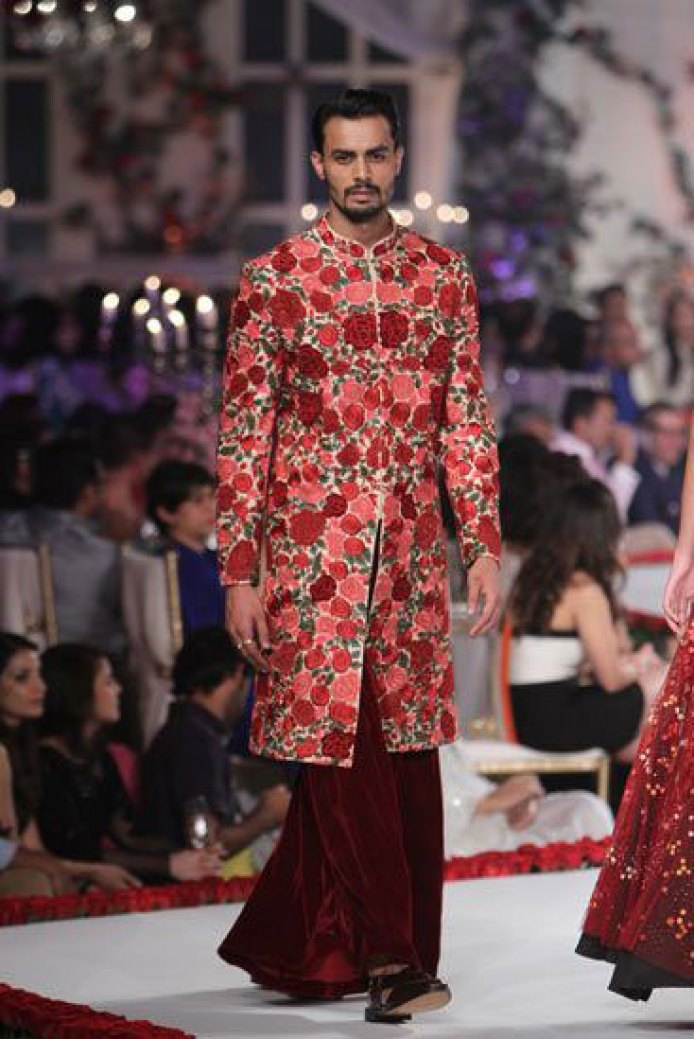 Red and maroon floral bandhgala with hints of green and velvet maroon lower | Varun Behl | Curated by Witty Vows