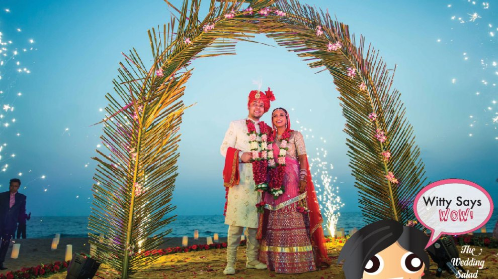 Witty Says WOW - Stunning Indian Beach wedding with a leaf entry and fireworks| Indian Weddings Ideas| Photo - Wedding Salad | Curated by witty vows