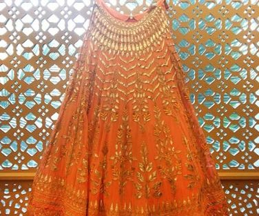 Day Wedding Lehenga Style | Orange lehenga with gold gotta patti | Anita Dongre | Curated by Witty Vows