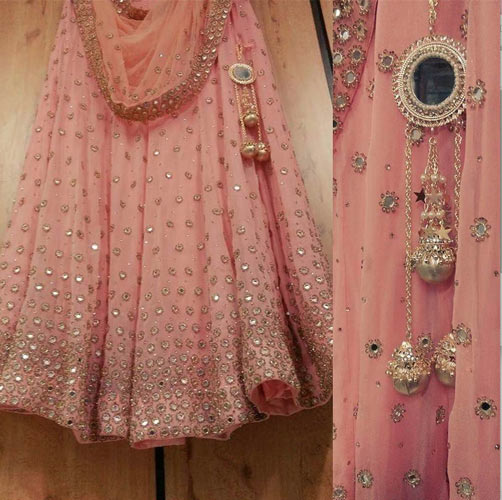 Day Wedding Lehenga Style | Pastel light pink lehenga with gold embroidery and mirror work | Pinterest | Curated by Witty Vows