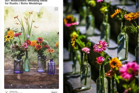 DIY wedding idea for an outdoor Indian wedding or mehendi - Eclectic mix and match glass bottles with colourful wild flowers | Pinterest done right | Subhashree and Jonathan | Curated by Witty Vows