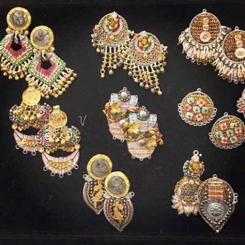Funky metal and gota mixed fashion jewellery earrings for the Bride to wear on her Mehendi | FoolJhadi | Curated by Witty Vows
