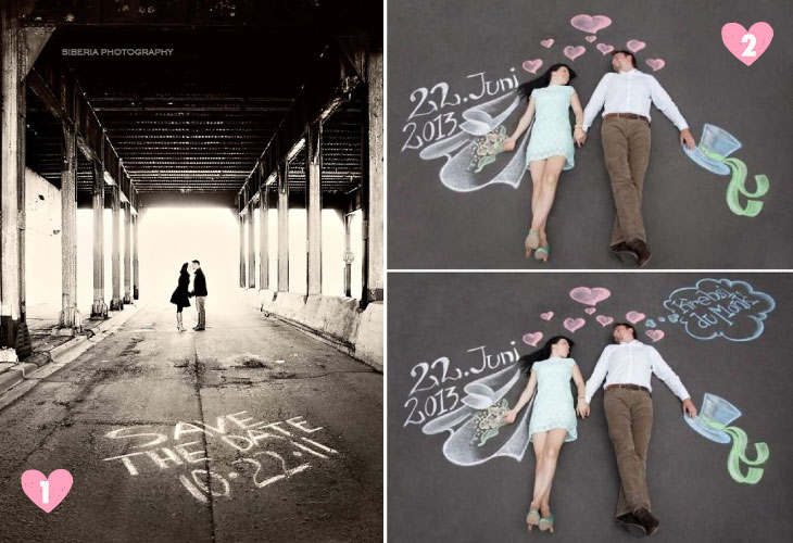 Save the date ideas for Indian weddings   Save the date ideas with writing on the road and chalk board art on the floor   Curated by Witty Vows