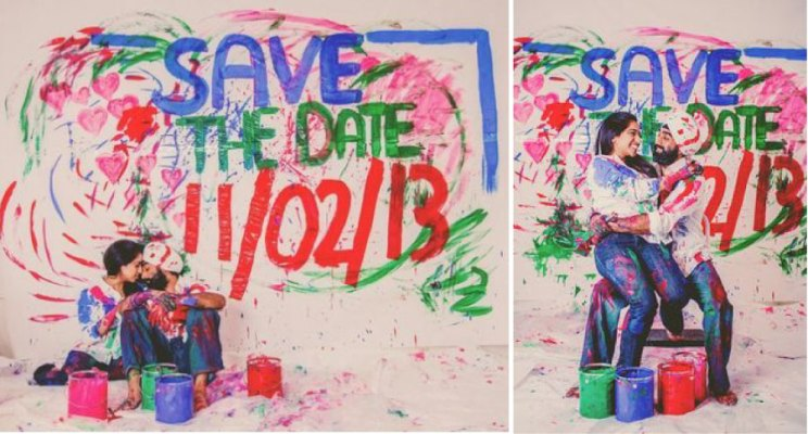 Save the date ideas for Indian weddings  Save the date painted on wall by Indian couple   Such an amazing idea  Curated by Witty Vows