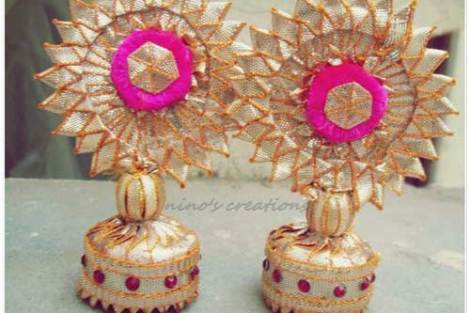 Gold gota jhumki earrings with pink accents | Nino Creations | Mehndi Jewellery | Curated by Witty Vows for the Indian Bride on her Mehendi and Wedding
