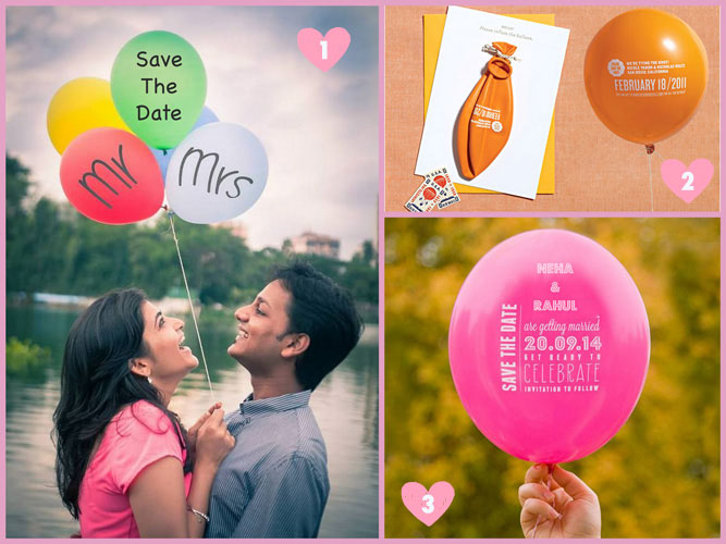 Save the date ideas for Indian weddings | Baloon styled photo shoots with couples holding printed balloons for save the date and balloon invites | Curated by Witty Vows