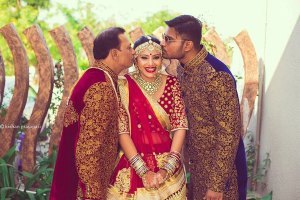 Indian bride with her father and brother