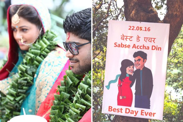 An organic, natural green mandap   lives and marigold flowers twined on bamboo for the vedi   Lakeside wedding - outdoor Indian wedding decor ideas   Signages with couple caricatures - ideas for Indian wedding details   A woodland theme forest destination wedding in the Hills   Bengali wedding by the lakeside   Traditional Bengali wedding ceremony at a destination   The beautiful green and marigold mandap by the lakeside   Genda fool decor ideas  The green leaf jaimala nd the traditional bengali crown ceremony   Subhashree and Jonathan   Ideas   curated by Witty Vows