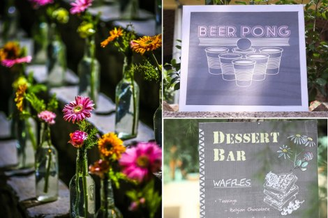 Pretty outdoor Indian Mehendi decor ideas| DIY ideas| colourful local flowers in glass bottles with pretty chalk style signages and games!| Pretty and easy food signages and display ideas for the Indian Wedding | Jonathan & Subhashree | Curated by Witty Vows