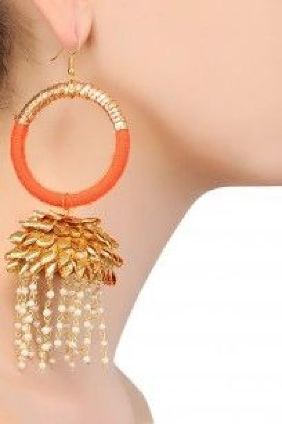 orange & gold gota jewellery with pearl tassels for mehndi | Earrings for the mehendi or Indian wedding | Aparajita Toor | Curated by Witty Vows