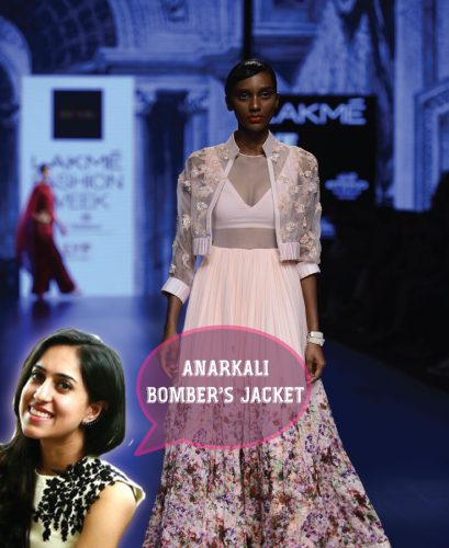Bridal fashion tips for the trousseau for Indian weddings by fashion designer Ridhi Mehra | Ileana Cruz walks the ramp |Go unconventional brides - Pair Bombers Jacket with Anarkali! | Curated by Witty Vows