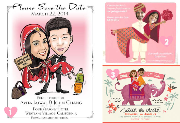 Save the date ideas for Indian weddings | Couple caricatures for Indian wedding save the dates and a fridge magnet save the date| Curated by Witty Vows