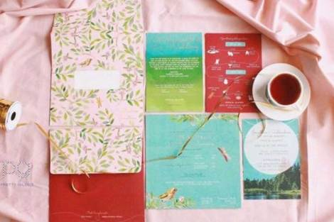 A summer hill station nature Indian Wedding - Subhashree and jonathan | Pastel pink and teal invite | Tea favours | Pretty guilded | Curated by Witty Vows