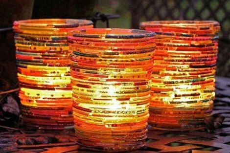 use old bangles and glue them together to make tea light holders! a great idea for the decor at your cards party for diwali at home