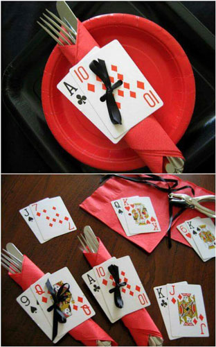 Bundle up the napkins together with a card   easy DIY Ideas to display your food buffet at your cards party for diwali at home   Curated by Witty Vows