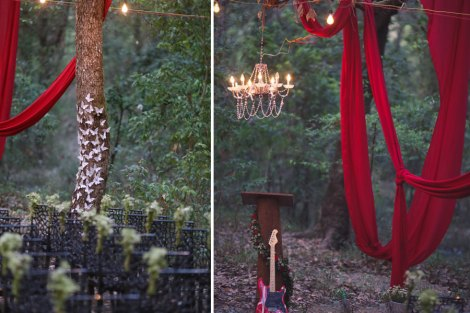 Beautiful outdoor forest style woodland wedding | rustic chic Indian destination wedding Ideas | Christian ceremony by Indian couple | Outdoor decor ideas for Indian wedding | Chandelier alter with red drapes from trees and the aisle lined with baby breath | Subhashree and jonathan | Woodland wedding in the hills | Budget bride | Curated by Witty Vows