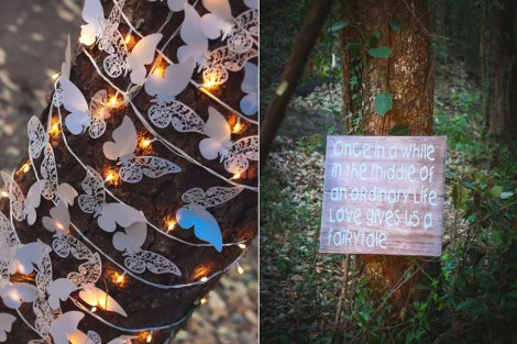 Tree decor ideas - paper butterflies and cute wooden signages - once in a while in the middle of an ordinary life - love gives you a fairytale | rustic chic Indian destination wedding Ideas | Christian ceremony by Indian couple | Outdoor decor ideas for Indian wedding | Chandelier alter with red drapes from trees and the aisle lined with baby breath | Subhashree and jonathan | Woodland wedding in the hills | Budget bride | Curated by Witty Vows