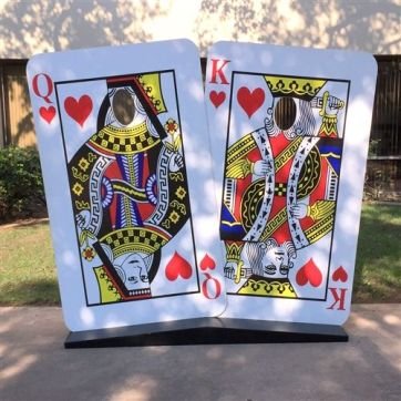 A face cut out playing card photo booth prop for you to stick you head out of and be king and queen at this diwali CARDS PARTY AT home
