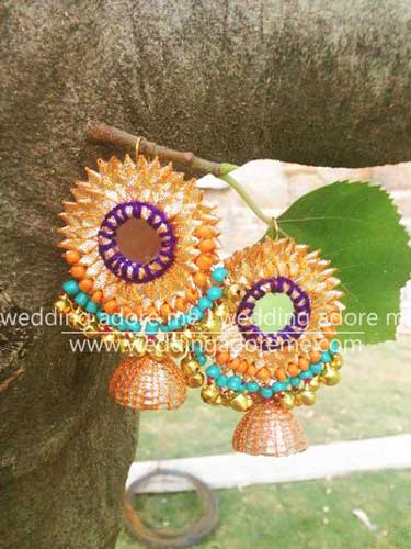 Orange, purple, turquoise blue gota earrings with gold beads | Wedding Adore | Curated by Witty Vows for the Indian bride's Mehendi and wedding