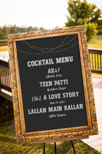 creative cocktail bar sign for your Diwali house party bar | decor, bar and food ideas for the Indian house diwali party for newly married couples | curated by Witty Vows