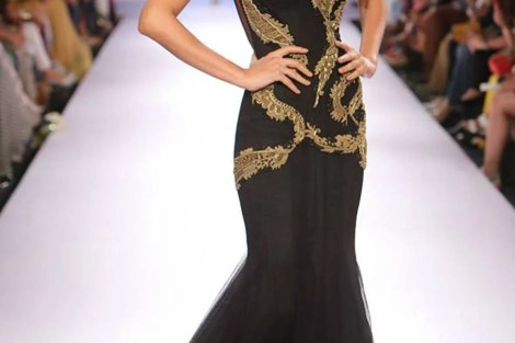 Reception Gowns for Indian Brides - Sonaakshi Raaj | Reception Gown | Black & Gold| Cocktail Gown | Indian Bridal wear | Indian Weddings | Indian Designer | Bridal Fashion| Indian Bride