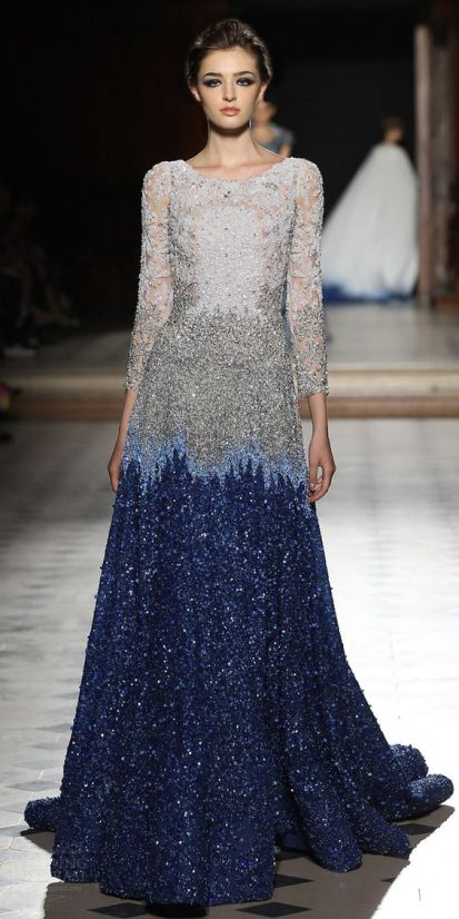Cocktail Gowns for Indian Brides - Tony Ward| Reception Gown | Fall Collection| Blue & Silver Sequence | Cocktail Gown | Indian Bridal Wear | Indian Brides | Indian weddings | Stunning Bridal Gown| Fashion Designer