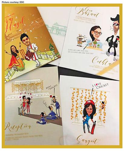 yuvraj singh wedding cartoon card idea edc witty vows