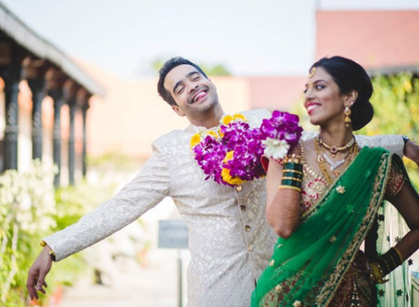 Groom and Bride exit ideas for Indian Weddings | vadai ideas | wedding send off ideas | couple exit ideas | Indian couple exit wedding groom being pulled by bride with jaimala
