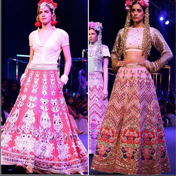New Colourful Mehndi outfits for brides Yellow outfit with lotus motifs | Models walk the ramp at Manish Arora's collection 2016 Blender's Pride Delhi | Mehndi outfit Ideas to steal from Manish Arora's New Collection
