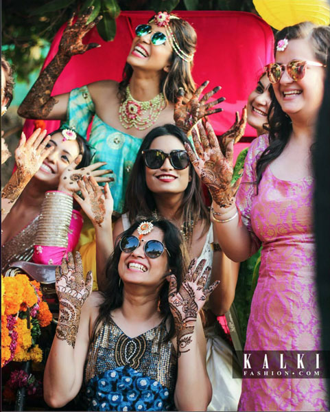 Mehndi photo shoot | New mehndi ideas from Kishwer Merchant's pretty daytime mehndi | Kishwer Merchant on a rickshaw with friends for her mehndi | Mehndi decor ideas and mehndi photoshoot ideas