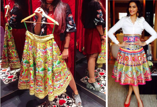 Skirt for the Mehendi | Sonam kapoor in a Manish Arora Skirt | Manish Arora's collection 2016 Blender's Pride | Mehndi outfit Ideas to steal from Manish Arora's New Collection
