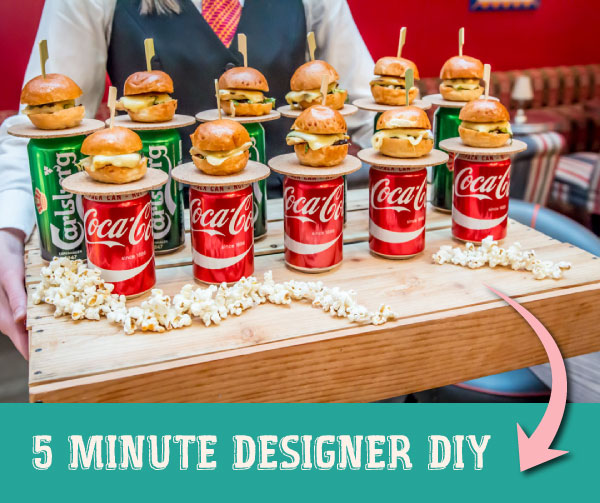 Picnic style DIY Day wedding Food display | Innovative for display ideas for Indian Weddings by food stylist Rakhee Jain | Mini Burger and Beer appetiser ideas