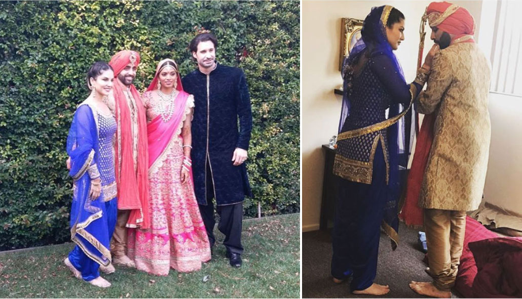 Sunny leone's Brother Sandeep vohra got married in a pretty Gurudwara Ceremony in LA | Sunny Leone with family at the Gurudwara
