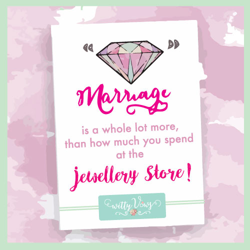 Marriage is a lot more than how much you spend at the jewellery store | Watercolour | Wedding ring | Wedding quote | Witty Vows | Minimal New Trending Wedding ring design ideas for indian brides on a budget | Engagement Rings | Budget Wedding Rings