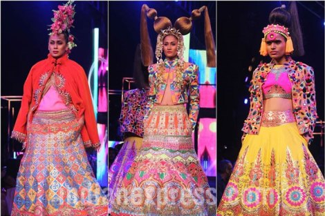 New Colourful Mehndi outfits for brides | Models walk the ramp at Manish Arora's collection 2016 Blender's Pride Delhi | Mehndi outfit Ideas to steal from Manish Arora's New Collection