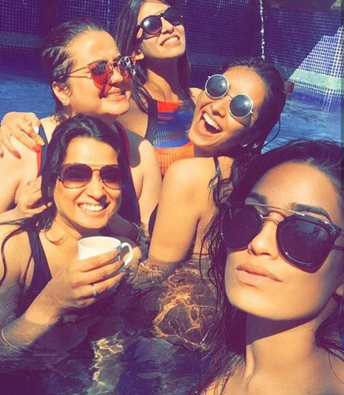 Indian Bachelorette Ideas - Kishwer Merchant's Bachelorette Party in Goa | Bride with her friends in her pool party