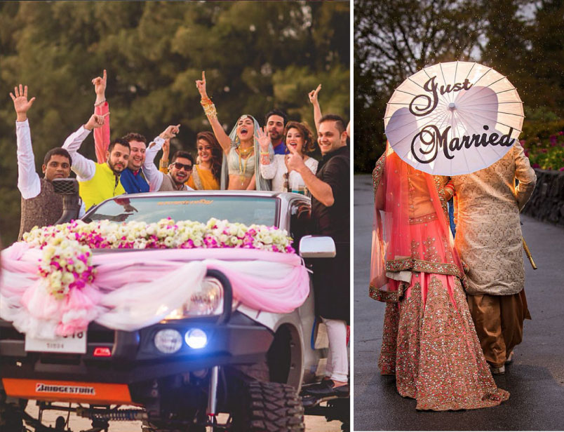 Groom and Bride exit ideas for Indian Weddings   vidai ideas   wedding send off ideas   couple exit ideas   Indian couple exit wedding groom and bride on a monster truck   Shot by the lightsmiths