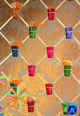 Indian Kitsch Mehndi Decor Ideas | Fun DIY Mehndi theme with super colourful Mehendi decor | Witty Vows | colourful glasses with flowers |A3 project