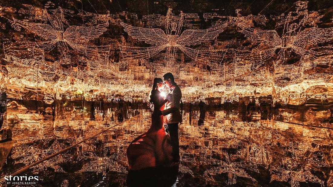 Keshav and Veena reddy sangeet with lights   Photo by stories by Joseph Radhik   Fairylight and mirror decor by Abu jhani and Sandeep khosla