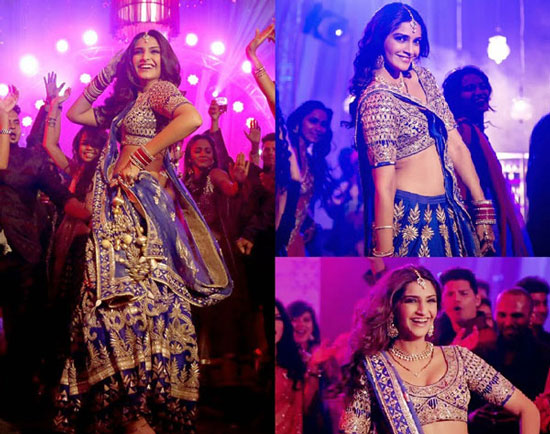 Sonam Kapoor in a purple blue bridal lehengas by Anita Dongre in Dolly ki Doli with beautiful silver gotapatti | Bollywood fashion | Wedding Lehengas | bollywood lehenga | designer lehenga