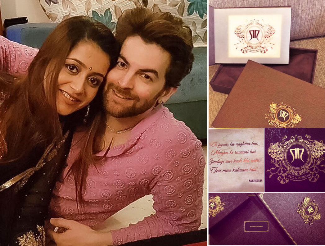 Neil nitin makes and wife rukmini | Indian wedding card ideas | Indian wedding invite ideas | Neil nitin mukesh's wedding card
