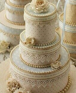 personalised wedding cakes   Indian Wedding Cakes   Duck egg able and ivory cake with gold, pearl and lace detailing for the day wedding to match the brides sabyasachi lehenga
