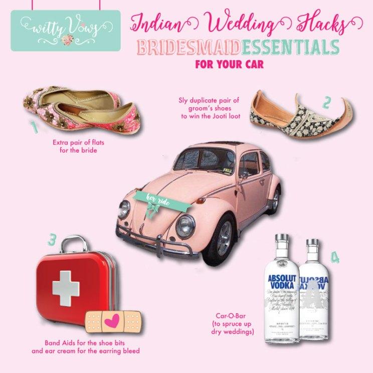 Indian bridesmaids essentials for her car   Indian bridesmaid duties   DIY Indian Wedding survival Kit
