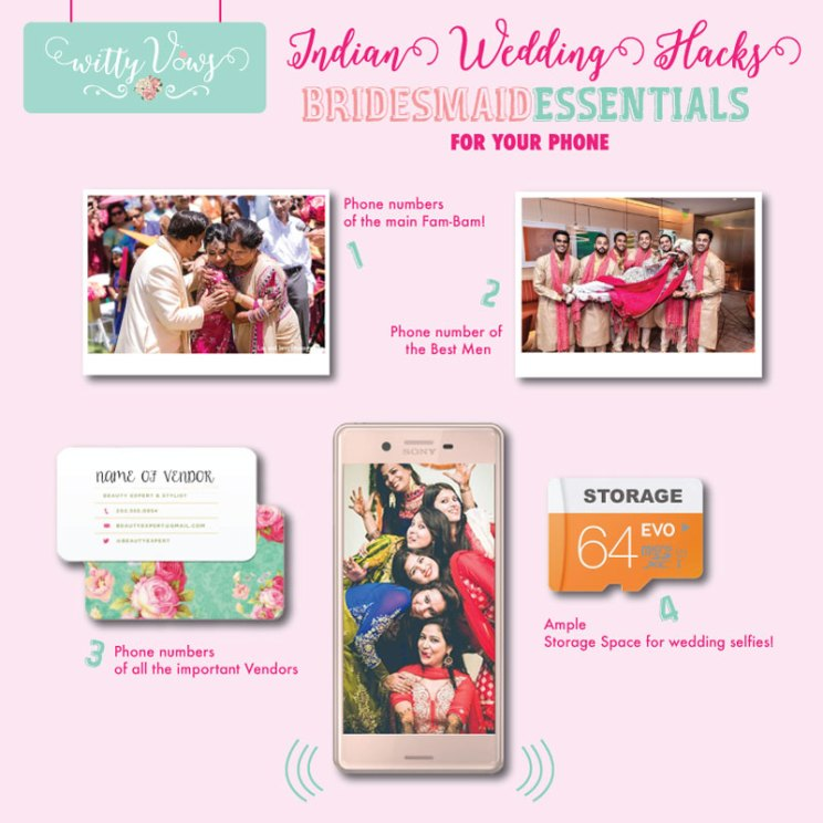 Indian bridesmaids essentials for her phone | Indian bridesmaid duties | DIY Indian Wedding survival Kit