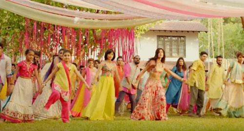 decor ideas from bollywood film Baar Baar Dekho | bollywood wedding | fun diy mehndi decor ideas | pink hanging ribbons and floral chintz drapes