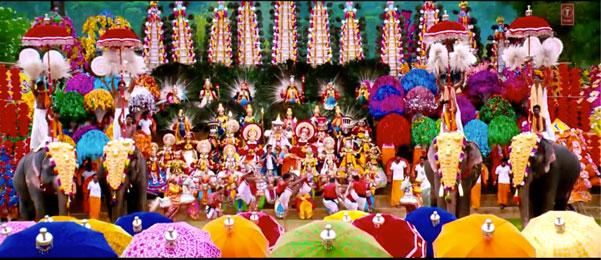 decor ideas from bollywood film Chennai express   bollywood wedding   fun diy mehndi decor ideas   Kashmir main tu Kanyakumari   colourful decor for Indian mehndi   South Indian elephant jewellery decor and colourful umbrellas