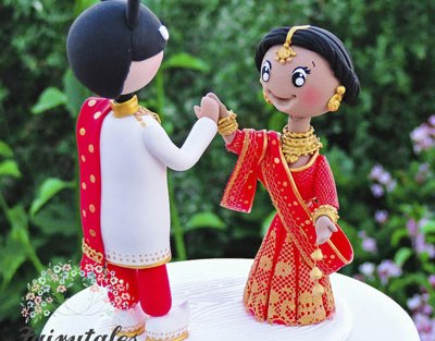 personalised wedding cakes | Indian Wedding Cakes | Adorable Indain couple cake topper