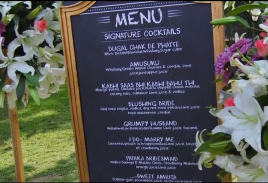 Chalkboard cocktail menu for the wedding