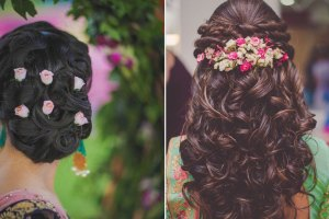 Beautiful half undo hairstyle with curls | wedding braid Hairstyle with flowers | fresh flower hairstyle | small flower white flowers in your hair | Half up do with curls and fresh flowers | Bun with pink flower buds